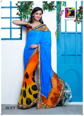 Sky Blue And Yellow Party Wear Haf and Haf Art silk Saree white blouse piece