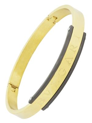 Italian designer 18k gold black plated 316l surgical stainless steel openable kada bangle bracelet men