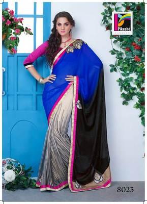 Blue Black And Beige Party Wear Haf-Haf Art silk Saree White Blouse Piece