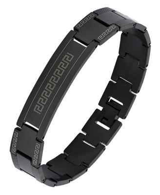Designer id black plated 316l surgical stainless steel bracelet for boys men
