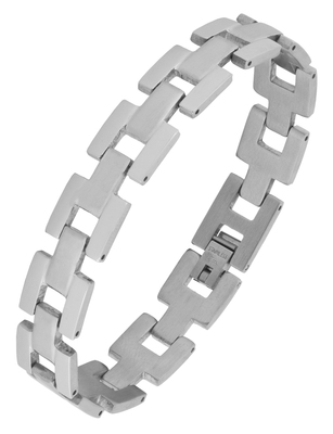 Geometric links glossy matte daily wear 316l surgical stainless steel bracelet for boys men