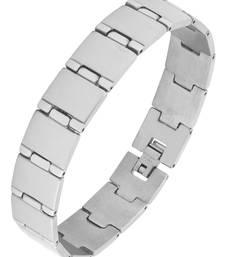 Geometric links brush matte daily wear 316l surgical stainless steel bracelet for boys men