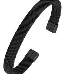 Slim mesh black rhodium 316l surgical stainless steel free size cuff kada bangle bracelet for men