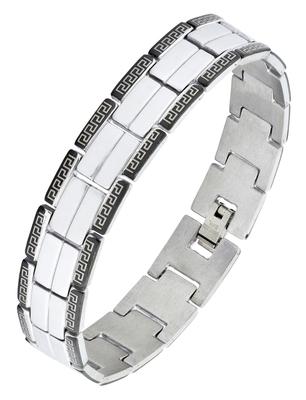 Biker black silver 316l surgical stainless steel rhodium bracelet for boys men
