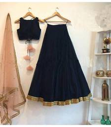 Buy Black embroidered satin unstitched lehenga with dupatta lehenga-choli online