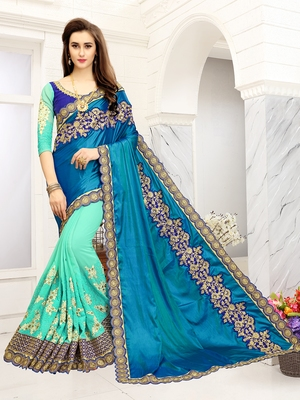 7ff785ed586 Turquoise embroidered art silk sarees saree with blouse - Saree Shop -  2148437