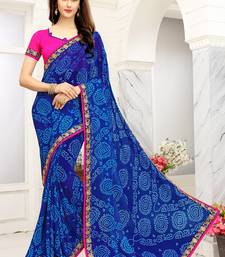 Buy Blue printed faux georgette saree with blouse bandhani-sarees-bandhej online