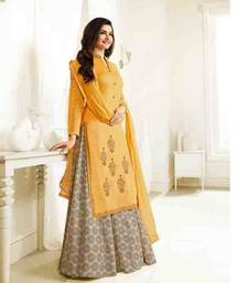 Buy Yellow embroidered silk salwar with dupatta sharara online