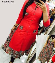 Buy Red printed cotton stitched long-kurtis long-kurti online