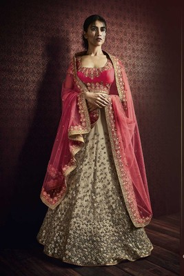 Salmon embroidered net unstitched lehenga with dupatta