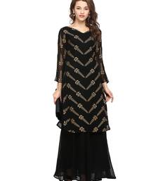Buy Black  georgette stitched kurtas-and-kurtis kurtas-and-kurtis online