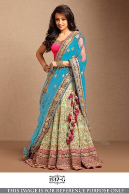 Parrot green embroidered net unstitched lehenga with dupatta