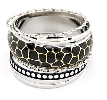 Black and Silver Bangles Set(CFB0068)
