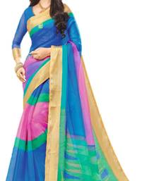 Buy Multicolor printed organza saree with blouse below-1500 online