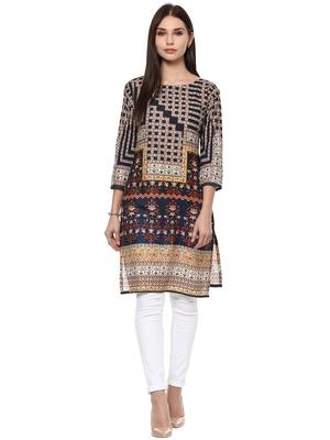 Beige printed cotton stitched kurtas-and-kurtis