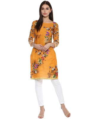 Yellow printed cotton stitched kurtas-and-kurtis