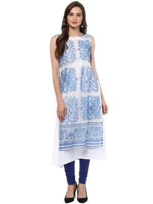 Blue printed crepe stitched kurtas-and-kurtis