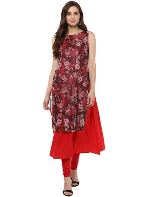 Red printed crepe stitched kurtas-and-kurtis