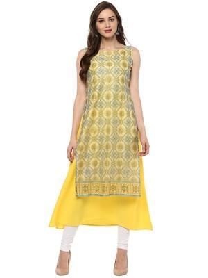 Yellow printed crepe stitched kurtas-and-kurtis