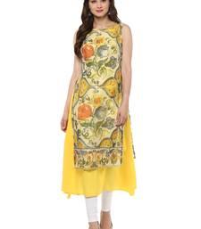 Buy Yellow printed crepe stitched kurtas-and-kurtis kurtas-and-kurtis online