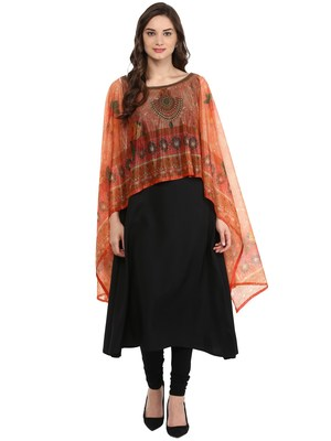 Black printed crepe stitched kurtas-and-kurtis
