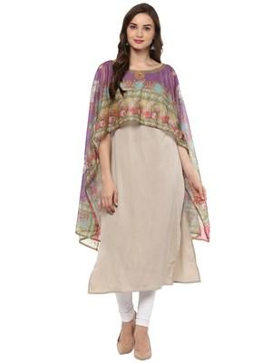 Multicolor printed crepe stitched kurtas-and-kurtis