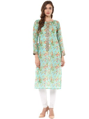 Multicolor printed chanderi stitched kurtas-and-kurtis