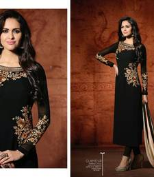 Buy Black embroidered georgette salwar with dupatta semi-stitched-salwar-suit online