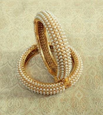Copper white pearl wedding bridal bangle kada set