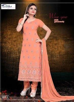 Tanishka  Chiffon Embroidered Orange Coloured Dress Material