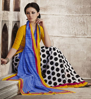 Trendy Blue & Yellow Georgette Saree