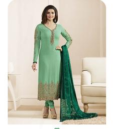 Buy green embroidered georgette pakistani unstitched salwar with dupatta pakistani-salwar-kameez online