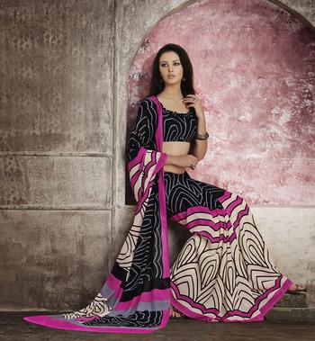 Trendy Black & Pink Georgette Saree