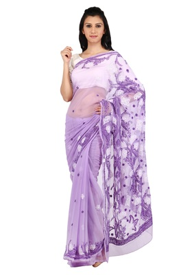 Light purple embroidered georgette saree with blouse