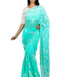 Buy Sea green embroidered georgette saree with blouse designer-embroidered-saree online