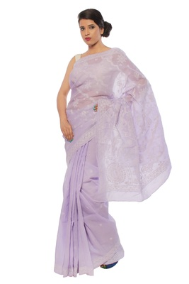 Purple embroidered cotton saree with blouse