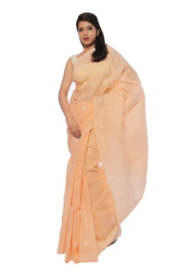 Light peach embroidered cotton saree with blouse
