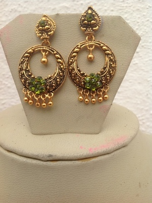 Antique Gold Light Green Hoops