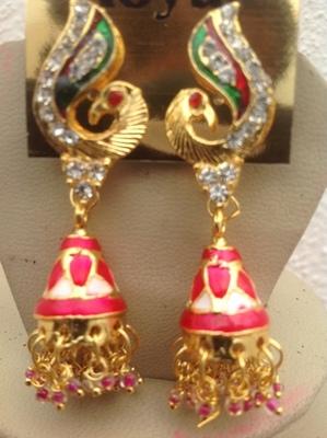 Gold peacock ear rings