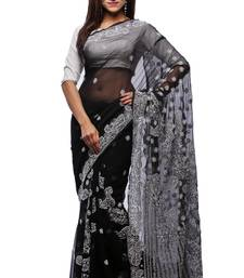 Buy Black embroidered georgette saree with blouse chikankari-saris online