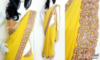 Golden yellow cutwork georgette bright with blouse