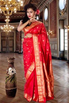 Red pure silk zari weaved saree with golden pallu & saree border