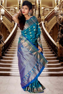 Blue pure silk zari weaved saree with royal blue pallu-SR5791