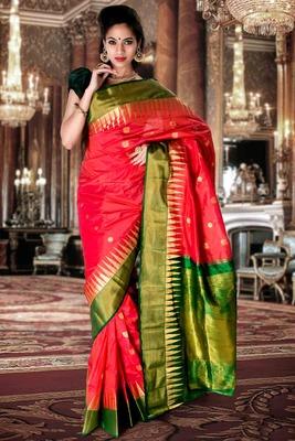 Peach pure silk zari weaved saree with green pallu & blouse-SR5798