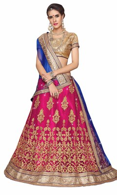 Pink embroidered net unstitched lehenga with dupatta