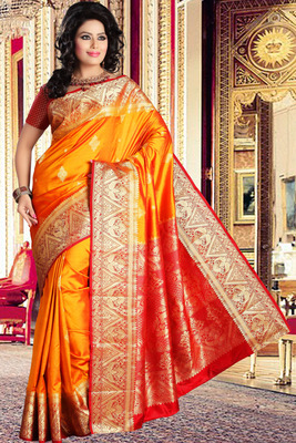 Bright yellow pure silk zari weaved saree in red & gold border-SR5809