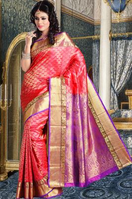 Peach pure silk zari weaved saree in purple pallu & golden border-SR5816