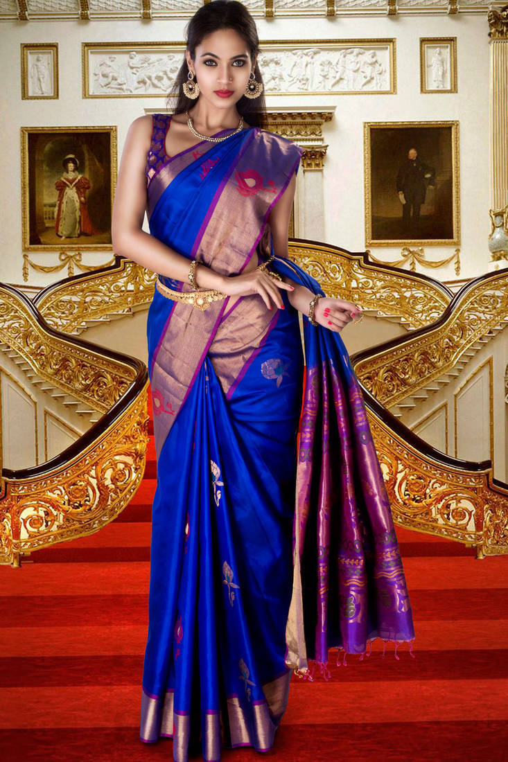 Buy Royal Blue Pure Silk Zari Weaved Saree In Purple Pallu