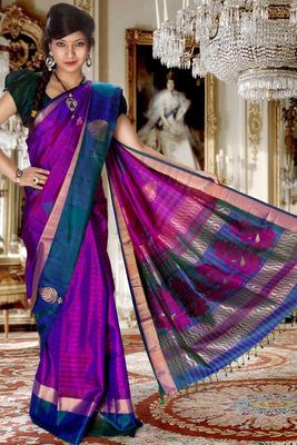 Multi colour pure silk zari weaved saree in royal blue & gold border-SR5821
