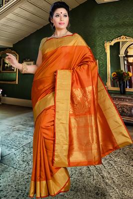 Orange pure silk saree in golden border & orange zari weaved pallu-SR5822